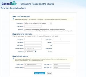 Parishsoft registration
